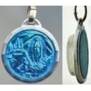 Medaglia di smalto blu con acqua di Lourdes.