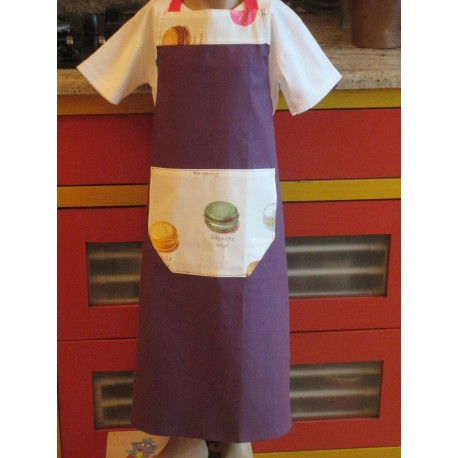 tablier cuisine coton personnalisé macarons 8 ans