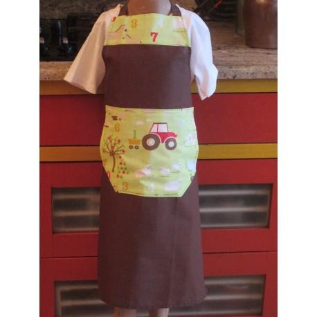 tablier cuisine coton personnalisé ferme 8 ans