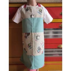 tablier cuisine coton personnalisé engins 6 ans
