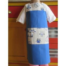tablier cuisine coton personnalisé chouettes 4 ans