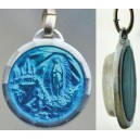 Blue enamel medal with Lourdes water.